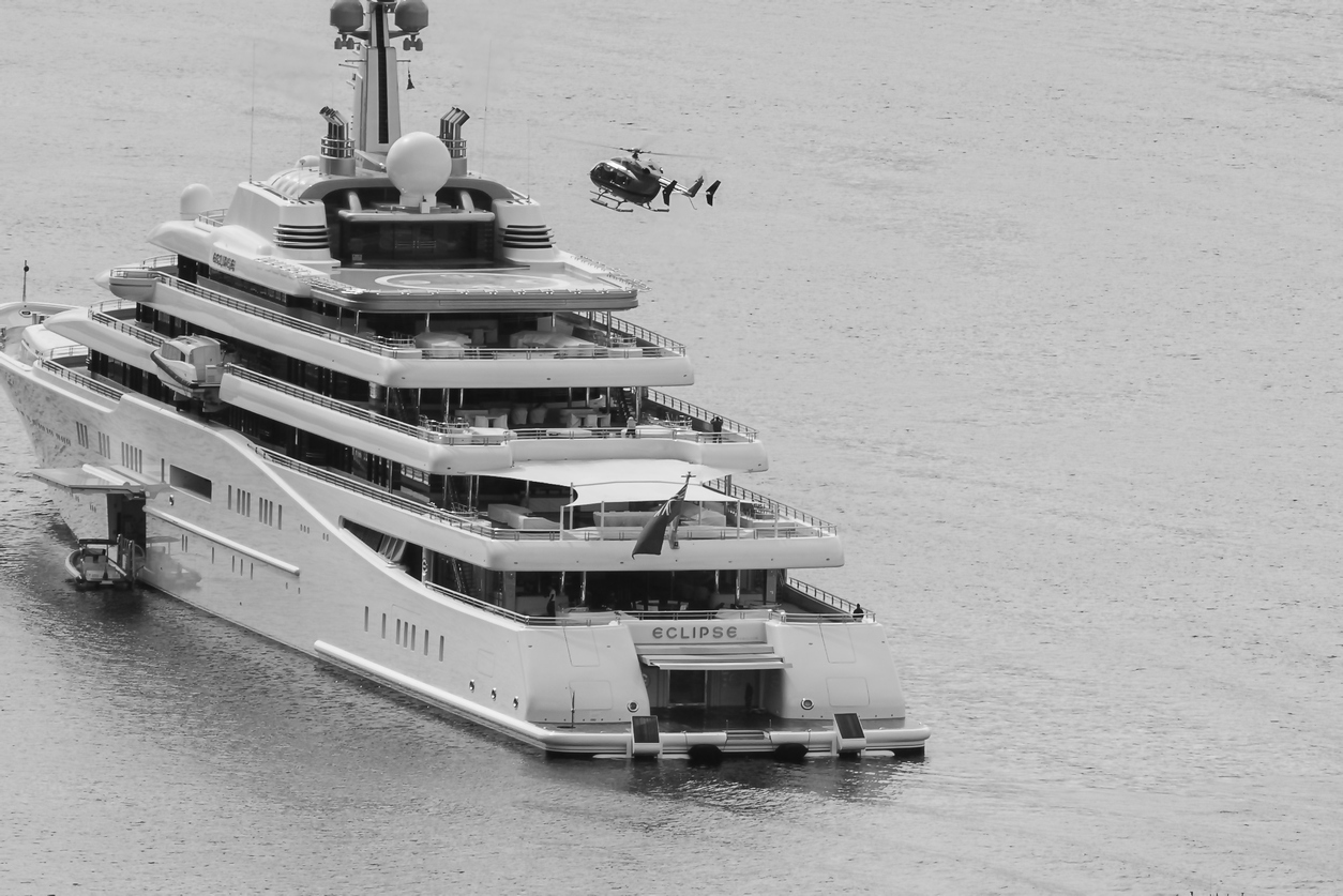 Super yacht and helicopter