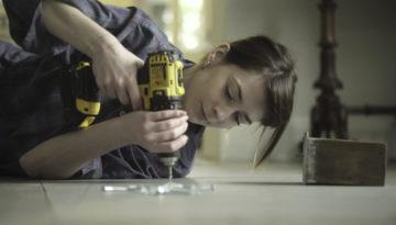 Floor drill woman