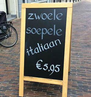 Zwoele Italiaan Meneren taalfouten horeca