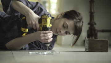Floor drill woman